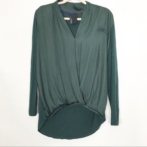 Anthro Dolan Draped Front LS Blouse, Size Small